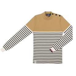 PULL CARAMEL BEURRE RAYE HOMME