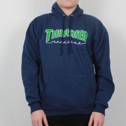 THRASHER SWEAT OUTLINED HOOD NAVY