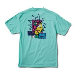 PRIMITIVE T-SHIRT R & M II RICK DESTRUCTED CELADON