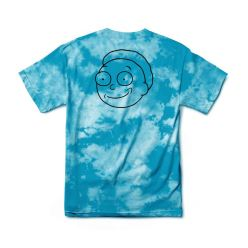 PRIMITIVE T-SHIRT R & M II MORTY OUTLINE TIE-DYE AQUA