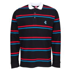 SCREAMING MINI HAND STRIPE LS/POLO BLACK