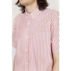 S/S SIMON SHIRT SIMON STRIPE ETNA RED