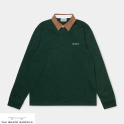 L/S CORD RUGBY POLO BOTTLE GREEN/HAMILTON BROWN