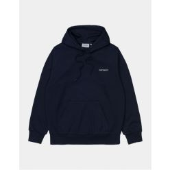 HOODED SCRIPT EMBROIDERY SWEAT DARK NAVY
